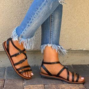 Black Strappy Toe Ring Buckle Gladiator Sandal